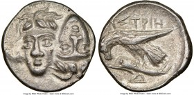 MOESIA. Istrus. Ca. 400-350 BC. AR drachm (19mm, 12h). NGC Choice XF. Two male heads side-by-side, the right inverted / IΣTPIH, sea eagle standing lef...