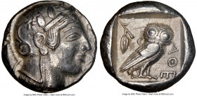 ATTICA. Athens. Ca. 475-465 BC. AR tetradrachm (23mm, 17.15 gm, 12h). NGC Choice XF 5/5 - 4/5, edge cut. Head of Athena right with frontal eye and 'ar...