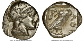 ATTICA. Athens. Ca. 440-404 BC. AR tetradrachm (25mm, 17.18 gm, 11h). NGC MS 3/5 - 4/5. Mid-mass coinage issue. Head of Athena right, wearing crested ...