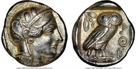 ATTICA. Athens. Ca. 440-404 BC. AR tetradrachm (24mm, 17.18 gm, 1h). NGC AU 5/5 - 4/5. Mid-mass coinage issue. Head of Athena right, wearing crested A...