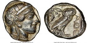 ATTICA. Athens. Ca. 440-404 BC. AR tetradrachm (25mm, 17.23 gm, 9h). NGC AU 5/5 - 4/5. Mid-mass coinage issue. Head of Athena right, wearing crested A...
