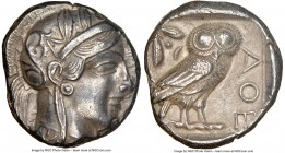 ATTICA. Athens. Ca. 440-404 BC. AR tetradrachm (25mm, 16.99 gm, 6h). NGC AU 4/5 - 4/5. Mid-mass coinage issue. Head of Athena right, wearing crested A...