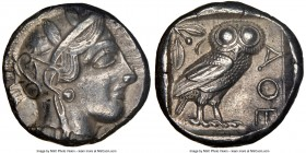 ATTICA. Athens. Ca. 440-404 BC. AR tetradrachm (23mm, 17.17 gm, 7h). NGC Choice XF 5/5 - 4/5. Mid-mass coinage issue. Head of Athena right, wearing cr...