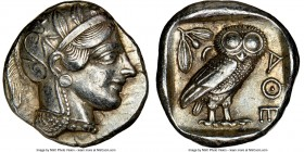 ATTICA. Athens. Ca. 440-404 BC. AR tetradrachm (25mm, 17.19 gm, 2h). NGC Choice XF 5/5 - 4/5. Mid-mass coinage issue. Head of Athena right, wearing cr...