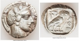 ATTICA. Athens. Ca. 440-404 BC. AR tetradrachm (27mm, 17.10 gm, 8h). Choice Fine, graffiti. Mid-mass coinage issue. Head of Athena right, wearing cres...