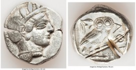 ATTICA. Athens. Ca. 440-404 BC. AR tetradrachm (25mm, 17.15 gm, 10h). Fine, test cuts. Mid-mass coinage issue. Head of Athena right, wearing crested A...