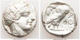 ATTICA. Athens. Ca. 440-404 BC. AR tetradrachm (24mm, 17.18 gm, 2h). Choice VF, countermark. Mid-mass coinage issue. Head of Athena right, wearing cre...
