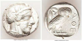 ATTICA. Athens. Ca. 440-404 BC. AR tetradrachm (23mm, 17.16 gm, 4h). About XF. test cut. Mid-mass coinage issue. Head of Athena right, wearing crested...