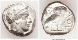 ATTICA. Athens. Ca. 440-404 BC. AR tetradrachm (24mm, 17.18 gm, 7h). Choice VF. Mid-mass coinage issue. Head of Athena right, wearing crested Attic he...
