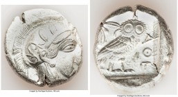ATTICA. Athens. Ca. 440-404 BC. AR tetradrachm (27mm, 17.18 gm, 12h). XF. Mid-mass coinage issue. Head of Athena right, wearing crested Attic helmet o...