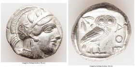 ATTICA. Athens. Ca. 440-404 BC. AR tetradrachm (25mm, 17.13 gm, 1h). XF. Mid-mass coinage issue. Head of Athena right, wearing crested Attic helmet or...