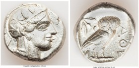 ATTICA. Athens. Ca. 440-404 BC. AR tetradrachm (24mm, 17.18 gm, 7h). VF. Mid-mass coinage issue. Head of Athena right, wearing crested Attic helmet or...