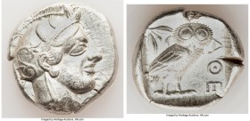 ATTICA. Athens. Ca. 440-404 BC. AR tetradrachm (25mm, 17.13 gm, 3h). VF. Mid-mass coinage issue. Head of Athena right, wearing crested Attic helmet or...