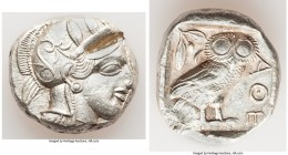 ATTICA. Athens. Ca. 440-404 BC. AR tetradrachm (24mm, 17.15 gm, 4h). About XF, test cut. Mid-mass coinage issue. Head of Athena right, wearing crested...