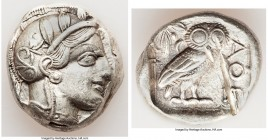 ATTICA. Athens. Ca. 440-404 BC. AR tetradrachm (25mm, 17.15 gm, 4h). XF, test cuts. Mid-mass coinage issue. Head of Athena right, wearing crested Atti...
