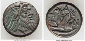 CIMMERIAN BOSPORUS. Panticapaeum. 4th century BC. AE (20mm, 7.64 gm, 12h). Choice VF. Head of bearded Pan right / Π-A-N, forepart of griffin left, stu...