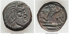 CIMMERIAN BOSPORUS. Panticapaeum. 4th century BC. AE (20mm, 8.61 gm, 11h). Choice VF. Head of bearded Pan right / Π-A-N, forepart of griffin left, stu...
