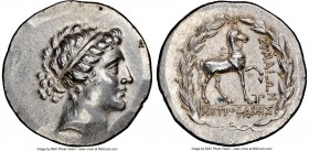 AEOLIS. Cyme. Ca. 155-145 BC. AR tetradrachm (30mm, 16.85 gm, 12h). NGC AU 5/5 - 3/5. Metrophanes, magistrate. Head of the Amazon Cyme right, her hair...