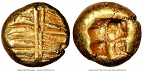 IONIA. Uncertain mint. Ca. 650-600 BC. EL 1/24 stater or myshemihecte (6mm, 0.60 gm). NGC AU S 5/5 - 5/5. Striated surface intersected by two lines / ...