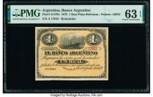 Argentina Banco Argentino 1 Real Plata Boliviana 1.7.1873 Pick S1478r Remainder PMG Choice Uncirculated 63 EPQ.   HID09801242017  © 2020 Heritage Auct...