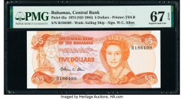 Bahamas Central Bank 5 Dollars 1974 (ND 1984) Pick 45a PMG Superb Gem Unc 67 EPQ.   HID09801242017  © 2020 Heritage Auctions | All Rights Reserve
