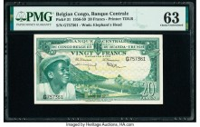 Belgian Congo Banque Centrale du Congo Belge 20 Francs 1.3.1957 Pick 31 PMG Choice Uncirculated 63.   HID09801242017  © 2020 Heritage Auctions | All R...
