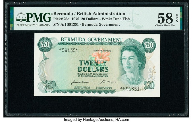Bermuda Bermuda Government 20 Dollars 6.2.1970 Pick 26a PMG Choice About Unc 58 ...