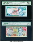 Bermuda Monetary Authority 2; 50 Dollars 1.8.1989; 24.5.2000 Pick 34s; 54a Specimen; Issued PMG Choice About Unc 58 EPQ; Choice Uncirculated 64 EPQ. R...