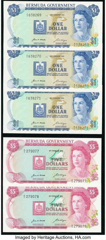 Bermuda Bermuda Government Group Lot of 5 Examples About Uncirculated-Crisp Unci...