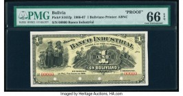 Bolivia Banco Industrial 1 Boliviano 1.1.1906 Pick S161fp Front Proof PMG Gem Uncirculated 66 EPQ. Four POCs.  HID09801242017  © 2020 Heritage Auction...
