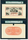 Bolivia Banco Nacional de Bolivia 100 Bolivianos 187x (ca. 1873) Pick S189fp; S189bp Front and Back Proofs PMG Gem Uncirculated 66 EPQ; Choice Uncircu...