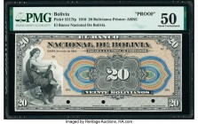 Bolivia Banco Nacional de Bolivia 20 Bolivianos 1910 Pick S217fp Front Proof PMG About Uncirculated 50. Three POCs; minor repairs.  HID09801242017  © ...