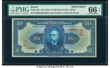 Brazil Republica dos Estados Unidos 10 Mil Reis ND (1925) Pick 39s Specimen PMG Gem Uncirculated 66 EPQ. Red Specimen overprints; two POCs.  HID098012...