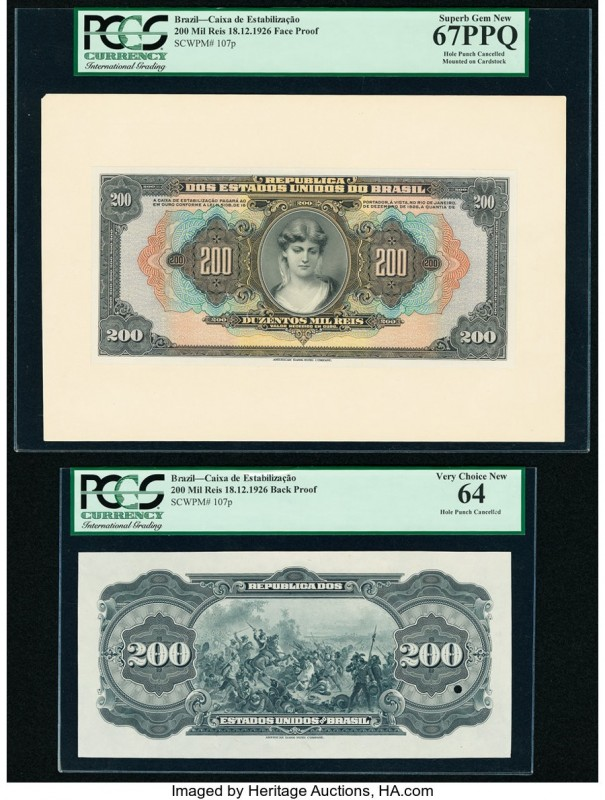 Brazil Caixa de Estabilizacao 200 Mil Reis ND 18.12.1926 Pick 107p Front and Bac...
