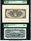 Brazil Caixa de Estabilizacao 200 Mil Reis ND 18.12.1926 Pick 107p Front and Back Proofs PCGS Superb Gem New 67PPQ; Very Choice New 64. Front Proof mo...