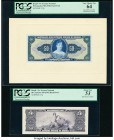 Brazil Tesouro Nacional 50 Cruzeiros 1943-44 Pick 137p Front and Back Proofs PCGS Very Choice New 64; About New 53. Front Proof mounted on cardstock. ...