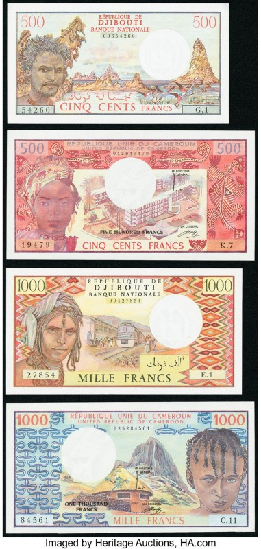 World (Cameroon, Djibouti) Group Lot of 4 Examples About Uncirculated-Crisp unci...