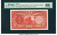 China Bank of Communications, Shanghai 1 Yuan 1.1.1931 Pick 148c S/M#C126-230 PMG Gem Uncirculated 66 EPQ.   HID09801242017  © 2020 Heritage Auctions ...