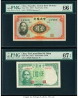 China Central Bank of China 1; 5 Yuan 1936; 1942 Pick 216a; 244a Two Examples PMG Gem Uncirculated 66 EPQ; Superb Gem Unc 67 EPQ.   HID09801242017  © ...