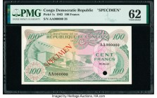 Congo Democratic Republic Conseil Monetaire de la Republique du Congo 100 Francs 1.6.1963 Pick 1s Specimen PMG Uncirculated 62. Red Specimen overprint...