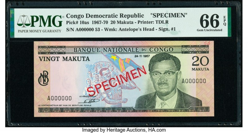Congo Democratic Republic Banque Nationale du Congo 20 Makuta 24.11.1967 Pick 10...