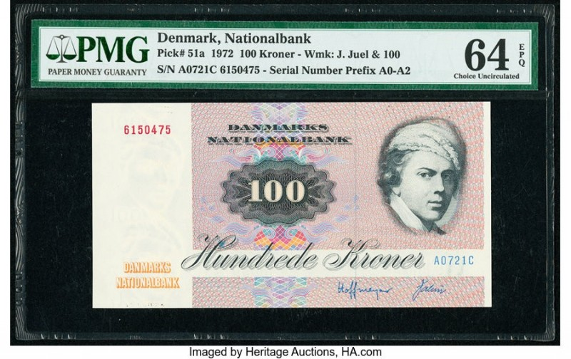 Denmark National Bank 100 Kroner 1972 Pick 51a PMG Choice Uncirculated 64 EPQ.  ...