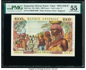 Equatorial African States Banque Centrale des Etats de l'Afrique Equatoriale, Chad 1000 Francs ND (1963) Pick 5as Specimen PMG About Uncirculated 55. ...