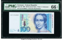 Germany Federal Republic Deutsche Bundesbank 100 Deutsche Mark 2.1.1996 Pick 46 PMG Gem Uncirculated 66 EPQ.   HID09801242017  © 2020 Heritage Auction...