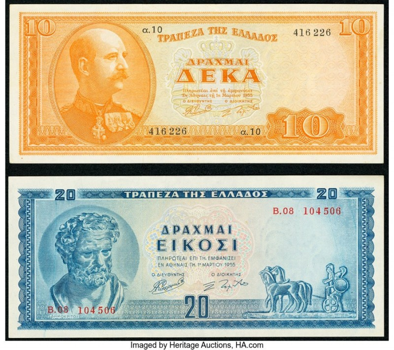 Greece Bank of Greece 10; 20 Drachmai 1955 Pick 189; 190 Two Examples Very Fine ...