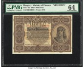 Hungary Ministry of Finance 100 Korona 1.1.1920 Pick 63s Specimen PMG Choice Uncirculated 64. Perforated Minta.  HID09801242017  © 2020 Heritage Aucti...