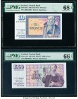 Iceland Central Bank of Iceland 10; 1000 Kronur 1961 (ND 1981-91) Pick 48a; 52a Two Examples PMG Superb Gem Unc 68 EPQ; Gem Uncirculated 66 EPQ. The 1...