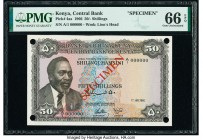 Kenya Central Bank of Kenya 50 Shillings 1.7.1966 Pick 4as Specimen PMG Gem Uncirculated 66 EPQ. Red Specimen overprints; four POCs.  HID09801242017  ...