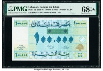 Lebanon Banque du Liban 100,000 Livres 1994-95 Pick 74 PMG Superb Gem Unc 68 EPQ S.   HID09801242017  © 2020 Heritage Auctions | All Rights Reserve