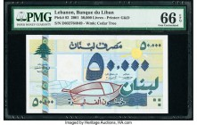 Lebanon Banque du Liban 50,000 Livres 2001 Pick 82 PMG Gem Uncirculated 66 EPQ.   HID09801242017  © 2020 Heritage Auctions | All Rights Reserve